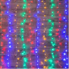 """Гирлянда """"Светодиодный Дождь"""" 1,5х1,5м, свечение с динамикой, прозрачный провод, 220В, диоды МУЛЬТИКОЛОР"""